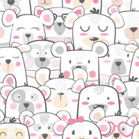 Seamless pattern - cute set bear.