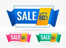 glänzende Verkaufs- und Rabattfahnen eingestellt