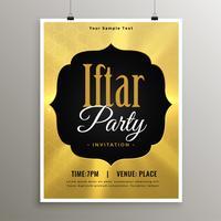 plantilla de invitación de la fiesta de oro iftar ramadan