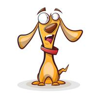 Funny, cute dog cartoon. vector