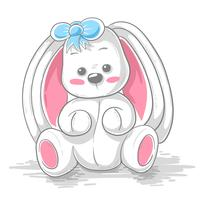 Cute teddy rabbit - cartoon illustration.