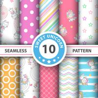 Cute cartoon unicorn - seamless pattern