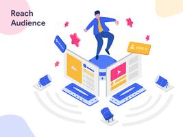 Reach Social Media Audience Isometric Illustration. Modern flat design style for website and mobile website.Vector illustration