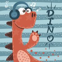 Söt dino tecken. Musik illustration.