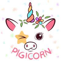Divertente unicorno, caratteri di maialino. Illustrazione di maiale