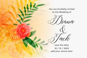 lovely orange wedding invitation card design template