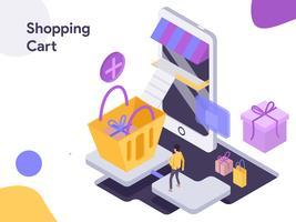 Ilustración isométrica de la cesta de compras. Estilo de diseño plano moderno para sitio web y sitio web móvil. Ilustración de vector