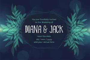 Hochzeitskarteentwurf der abstrakten Blattart dunkle