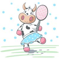 Cute cow plat big tennis.