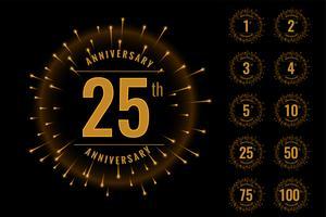 conjunto de aniversário emblema logotipo conjunto