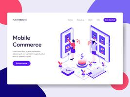 Landing page template of Mobile Commerce Illustration Concept. Isometric flat design concept of web page design for website and mobile website.Vector illustration