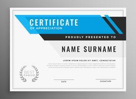 sauberes blaues Zertifikat der Anerkennung Schablonendesign