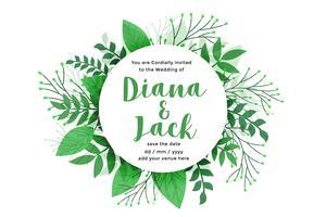 groene bladeren natuur stijl bruiloft kaart ontwerp