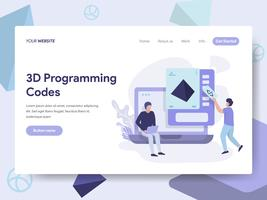 Landing page template of 3d Programming Codes Illustration Concept. Isometric flat design concept of web page design for website and mobile website.Vector illustration