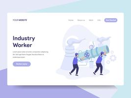 Landing page template of Industrial Worker Illustration Concept. Isometric flat design concept of web page design for website and mobile website.Vector illustration