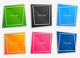conjunto de marcos de texto brillante colorido