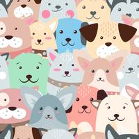 Animals, dog - cute, funny pattern. vector