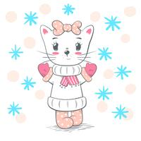 Cute, pretty love cat illustration.