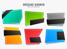 tomma abstrakta origami stil banners uppsättning