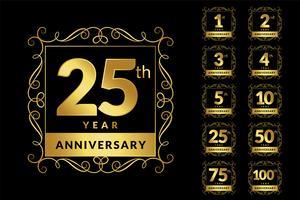 vintage luxe verjaardag gouden logo embleemset