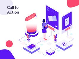 Call to Action Isometric Illustration. Modern flat design style for website and mobile website.Vector illustration