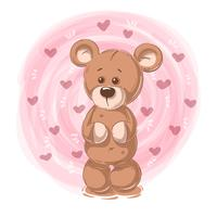 Cartoon teddy bear - funny characters.