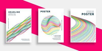 linee colorate ondulate coprono i disegni di poster flyer set
