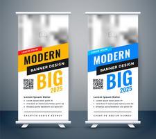 conception créative bannière bannière de stagiaire rollup bleu et jaune
