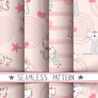 Little princess - kitty seamless pattern