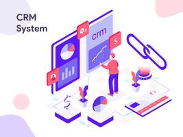 CRM System Isometric Illustration. Modern flat design style for website and mobile website.Vector illustration