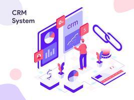 Ilustração isométrica do sistema CRM. Estilo moderno design plano para site e site móvel. Ilustração vetorial