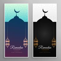 ramadan kareem mosque and lamps banner design