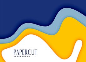 Fondo de capas de papercut con estilo amarillo y azul