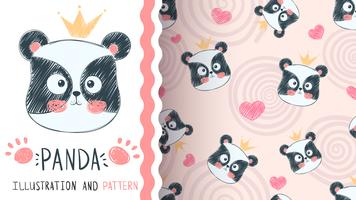 Cute panda illustration - seamless pattern