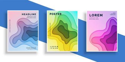 conjunto de cartel de papel abstracto volante