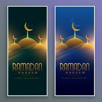 shiny muslim mosque ramadan kareem vertical banners