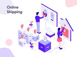 Online Shipping Isometric Illustration. Modern flat design style for website and mobile website.Vector illustration