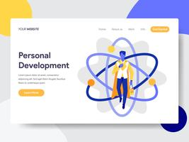 Molde da página da aterrissagem do conceito pessoal da ilustração do desenvolvimento. Conceito de design plano de design de página da web para o site e site móvel.