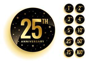 uppsättning gyllene årsdag märken