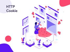 HTTP Cookie Isometric Illustration. Modern flat design style for website and mobile website.Vector illustration