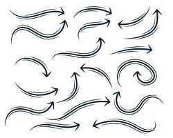 conjunto de setas curvas abstrata mão desenhada
