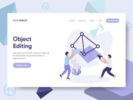 Landing page template of 3D Printing Object Editing Illustration Concept. Isometric flat design concept of web page design for website and mobile website.Vector illustration