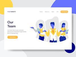 Modello di pagina di destinazione del nostro Team Illustration Concept. Concetto di design piatto di progettazione di pagine Web per sito Web e sito Web mobile. Illustrazione di vettore