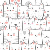 Cat, kitty - cute, funny pattern.