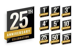 årsdag logotyp etiketter som design