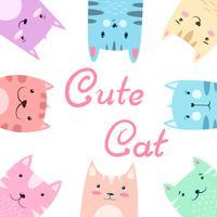 Gullig söt uppsättning katt, kattillustration.