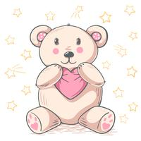 Cute teddy panda hugs love. vector