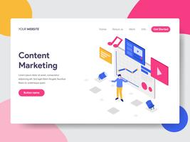 Landing page template of Content Marketing Illustration Concept. Isometric flat design concept of web page design for website and mobile website.Vector illustration