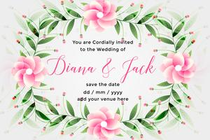 wedding card design with lovely flower decoration