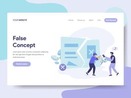 Landing page template of False Idea and Concept Illustration Concept. Isometric flat design concept of web page design for website and mobile website.Vector illustration